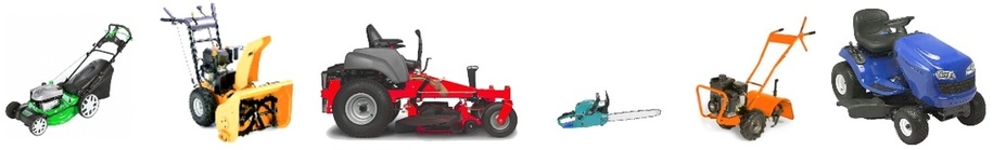 Picture of a lawnmower, snowblower, zero turn, chainsaw, rototiller, and lawn tractor.